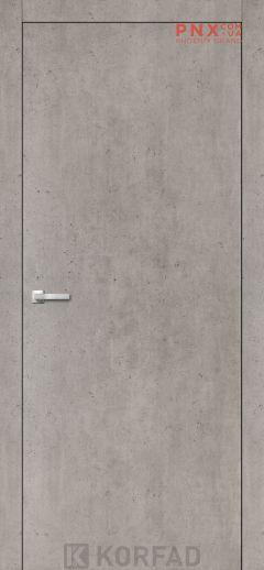 Міжкімнатні двері  Korfad LP-01 , лайт бетон, глухі+алюмінієвий торець