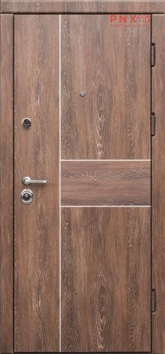 Входная дверь Форт Нокс,Троя, мдф/мдф Дуб шале корица + молдинг алюминий DA2