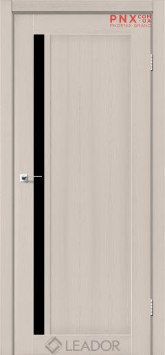 Межкомнатная дверь LEADOR Toskana, Дуб Латте, Черное стекло
