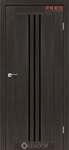 Межкомнатная дверь LEADOR Verona, Дуб Саксонский, Черное стекло