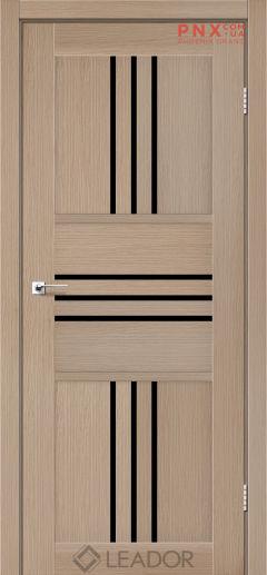 Межкомнатная дверь LEADOR Rona, Дуб Мокко, Черное стекло