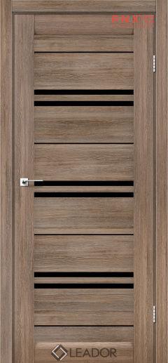 Межкомнатная дверь LEADOR Malta, Серое дерево, Черное стекло