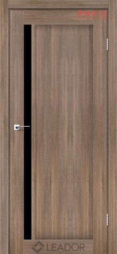 Межкомнатная дверь LEADOR Toskana, Серое дерево, Черное стекло