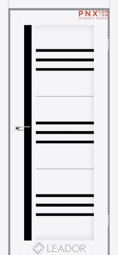 Межкомнатная дверь LEADOR Compania, Белый матовый, Черное стекло