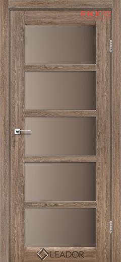 Межкомнатная дверь LEADOR Veneto, Серое дерево, Стекло сатин бронза