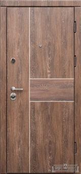 Входная дверь Форт Нокс,Троя New, мдф/мдф Дуб шале корица + молдинг алюминий DA2