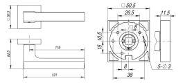 Ручка раздельная FLASH DM SN/CP-3 матовый никель/хром FUARO
