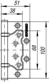 Петля универсальная без врезки 500-2BB 100x2,5 PN (мат. никель) FUARO (накладные (карточные))