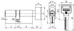 Цилиндровый механизм с вертушкой R602/60 mm (25+10+25) CP хром 5 кл. FUARO (с индивидуальным ключом)