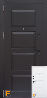 Входная дверь Форт Нокс,Троя New Kale, мдф/мдф бетон темный/бетон бежевый +молдинг DA-8
