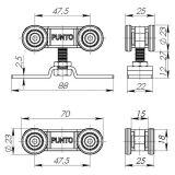 Комплект роликов для раздвижных дверей Soft LINE 45/4  PUNTO - Изображение 1