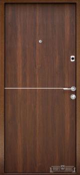 Входная дверь Форт Нокс, Гранд New,металл/мдф Муар 8017+DA-10 никель молдинг/Орех моренный - Изображение 1