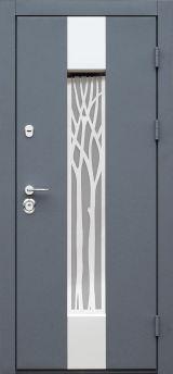 Входная дверь Форт Нокс,  Котедж NEW, металл/металл SP3 Бетон 3 в серебро/белое дерево+серебро