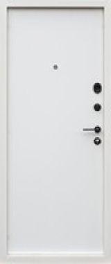Входная дверь Форт Нокс, Стрит, металл/мдф муар7024+флюминиевый молдинг/спил белый - Изображение 1