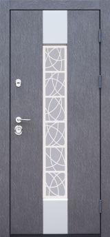 Входная дверь Форт Нокс,  Котедж NEW, металл/металл SP2 Бетон 3 в серебро/белое дерево+серебро - Изображение 1