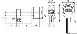 Цилиндровый механизм с вертушкой A202/80 mm (35+10+35) SN мат. никель 5 кл. FUARO (с индивидуальным ключом) - Изображение 1