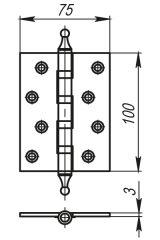 Петля универсальная 4500A (500-A4) 100x75x3 AВ Бронза Box ARMADILLO накладные (карточные) - Изображение 1