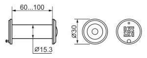 DVZ2, глазок, 16/200/60x100 (оптика пластик, угол обзора 200) CP Хром FUARO (с пластиковой оптикой) - Изображение 1