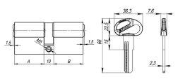 Цилиндровый механизм D-PRO500/70 mm (30+10+30) CP хром 5 кл. FUARO (с индивидуальным ключом)