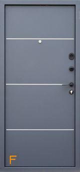 Входная дверь Форт Нокс, Гранд New, металл/мдф Муар 7024+DA-10 алюминий молдинг/Дуб кантри