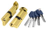 Цилиндровый механизм с вертушкой Z402/80 mm (35+10+35) PB латунь 5 кл. FUARO (с индивидуальным ключом)