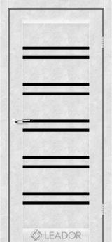 Межкомнатная дверь LEADOR Sicilia, Бетон Белый, Черное стекло