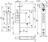 Замок врезной крестообразный 200-4MF/PB (латунь), 5 кл. FUARO (для легких дверей) - Изображение 1