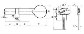 Цилиндровый механизм D-PRO502/60 mm (25+10+25) PB латунь 5 кл. FUARO (с индивидуальным ключом)