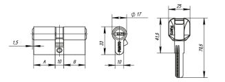 Цилиндровый механизм Z400/100 mm (45+10+45) CP хром 5 кл. FUARO (с индивидуальным ключом) - Изображение 1