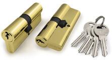 Цилиндровый механизм 100 CA 60 mm (25+10+25) PB латунь 5 кл. FUARO (с индивидуальным ключом)