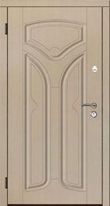 Входная дверь Саган Стандарт Модель 123, мдф/мдф , лен белый/лен белый, глухое