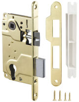 Замок межкомнатный под цилиндр LH 25-50 GP BOX ригель+защёлка (золото) ARMADILLO (для легких дверей)