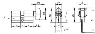 Цилиндровый механизм с вертушкой Z402/70 mm (30+10+30) CP хром 5 кл. PUNTO (с индивидуальным ключом)