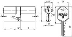 Цилиндровый механизм 100 CA 68 mm (26+10+32) CP хром 5 кл. FUARO (с индивидуальным ключом)