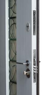 Входная дверь Форт Нокс,  Котедж NEW, металл/металл SP2 Бетон 3 в серебро/белое дерево+серебро - Изображение 2