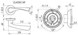 Ручка раздельная CLASSIC AR SN/CP-3 матовый никель/никель, квадрат 8x140 мм FUARO