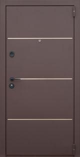 Входная дверь Форт Нокс, Гранд New,металл/мдф Муар 8017+DA-10 никель молдинг/Орех моренный