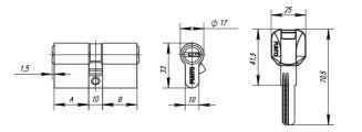 Цилиндровый механизм Z400/70 mm (30+10+30) CP хром 5 кл. PUNTO (с индивидуальным ключом) - Изображение 1
